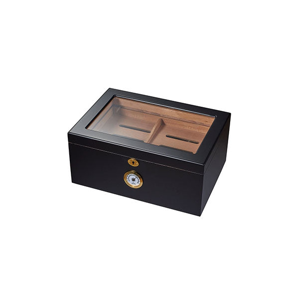 Visol Rainier Glass Top with Black Matte Finish Cigar Humidor - Holds 100 Cigars