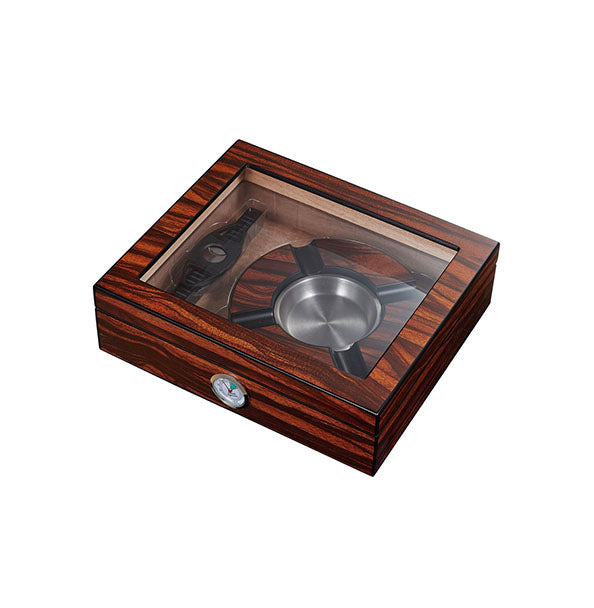 Visol Eiger Small Glasstop Humidor, Ashtray and Cutter Gift Set
