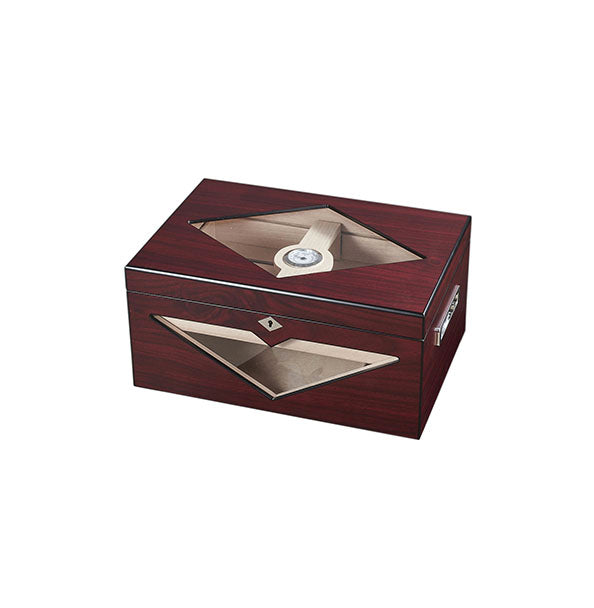 Visol Hudson Red Antique Wood Stain Humidor - Holds 125 Cigars