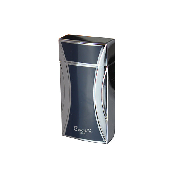 Caseti Naxos Single Jet Flame Cigar Lighter - Blue Lacquer & Chrome
