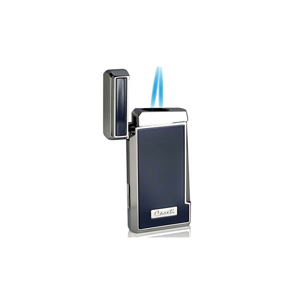 Caseti Tyros Blue Lacquer Double Torch Flame Cigar Lighter