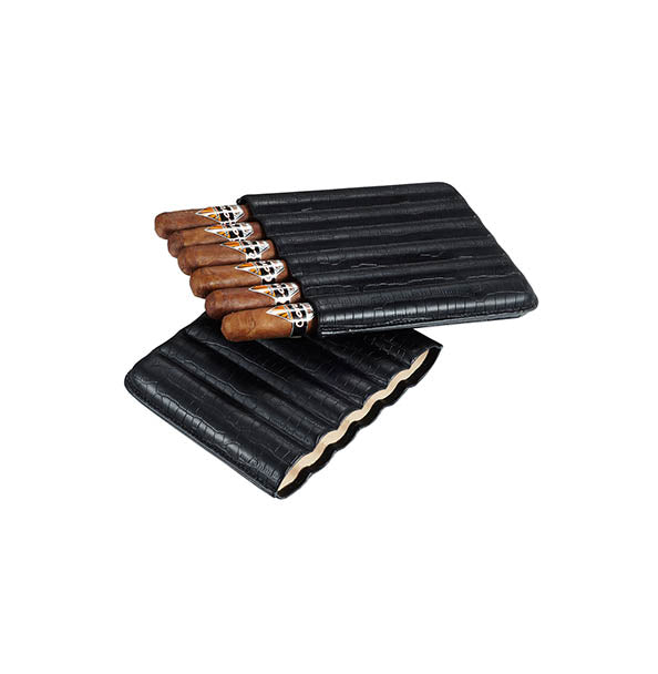 Visol Cardona Black Leather Cigar Case - 6 Cigars
