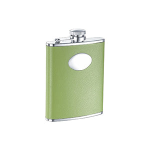 Visol Lily Pad Light Green Leather Stainless Steel 6oz Hip Flask