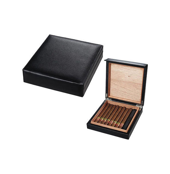 Visol Black Leather Cigar Humidor Holds 16 Cigars