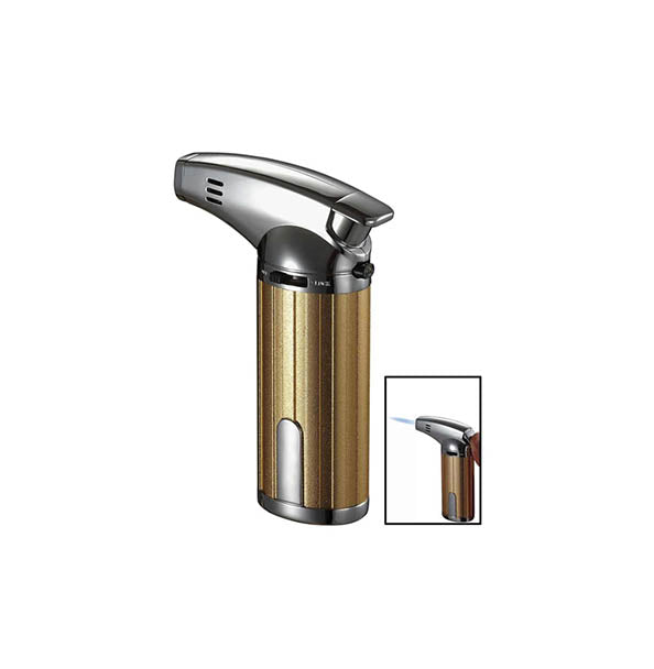 Visol Fiamma Gold and Chrome Wind-Resistant Jet Flame Table Cigar Lighter