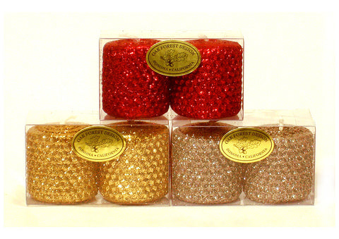 2x2 Classic Glitter Votive Candle Pair