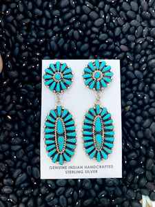 Traditional Turquoise Cluster Post Earrings