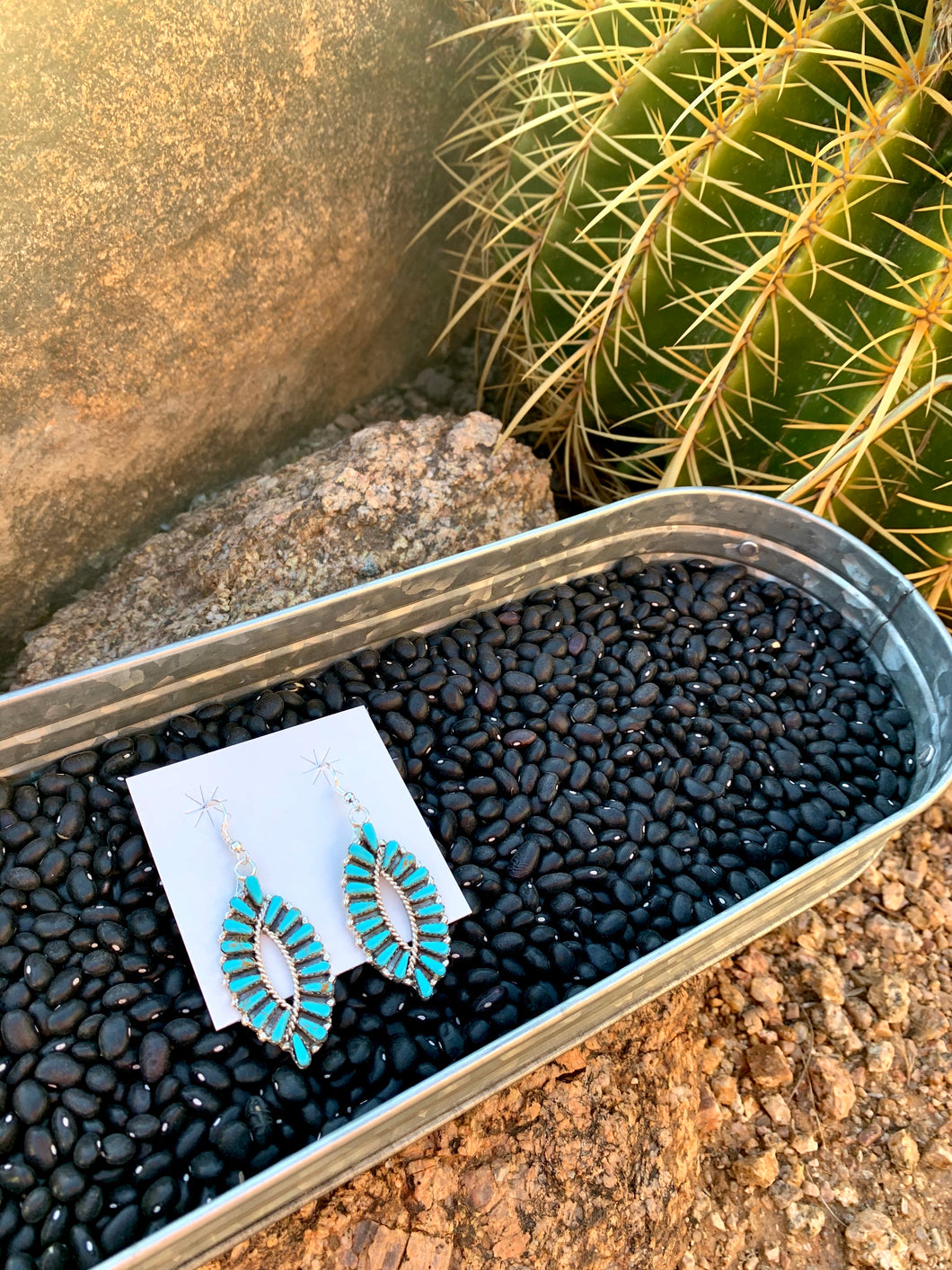 Navajo Oval Turquoise Earrings