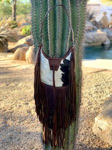 Cowhide Fringe Hobo Bag