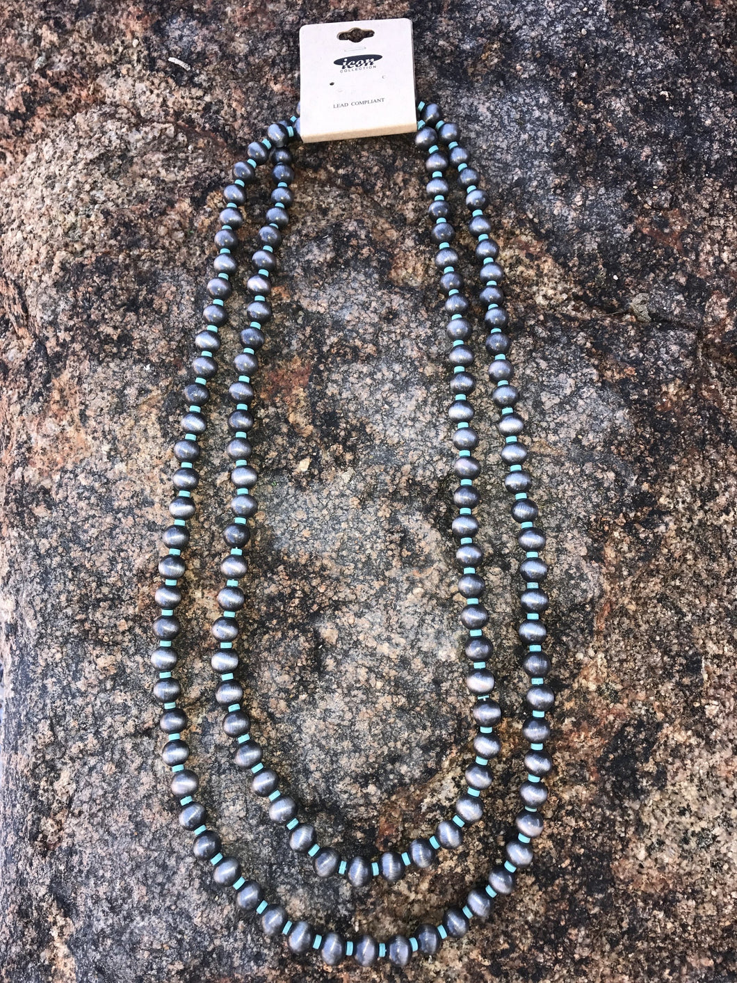 Faux Navajo Pearl and Turquoise Necklace - 2 Colors