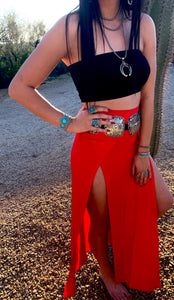 Red Maxi Skirt with Slits