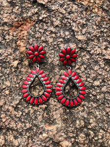 Teardrop Post Earrings - Red