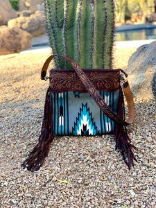 Turquoise and Gray Saddle Blanket Purse