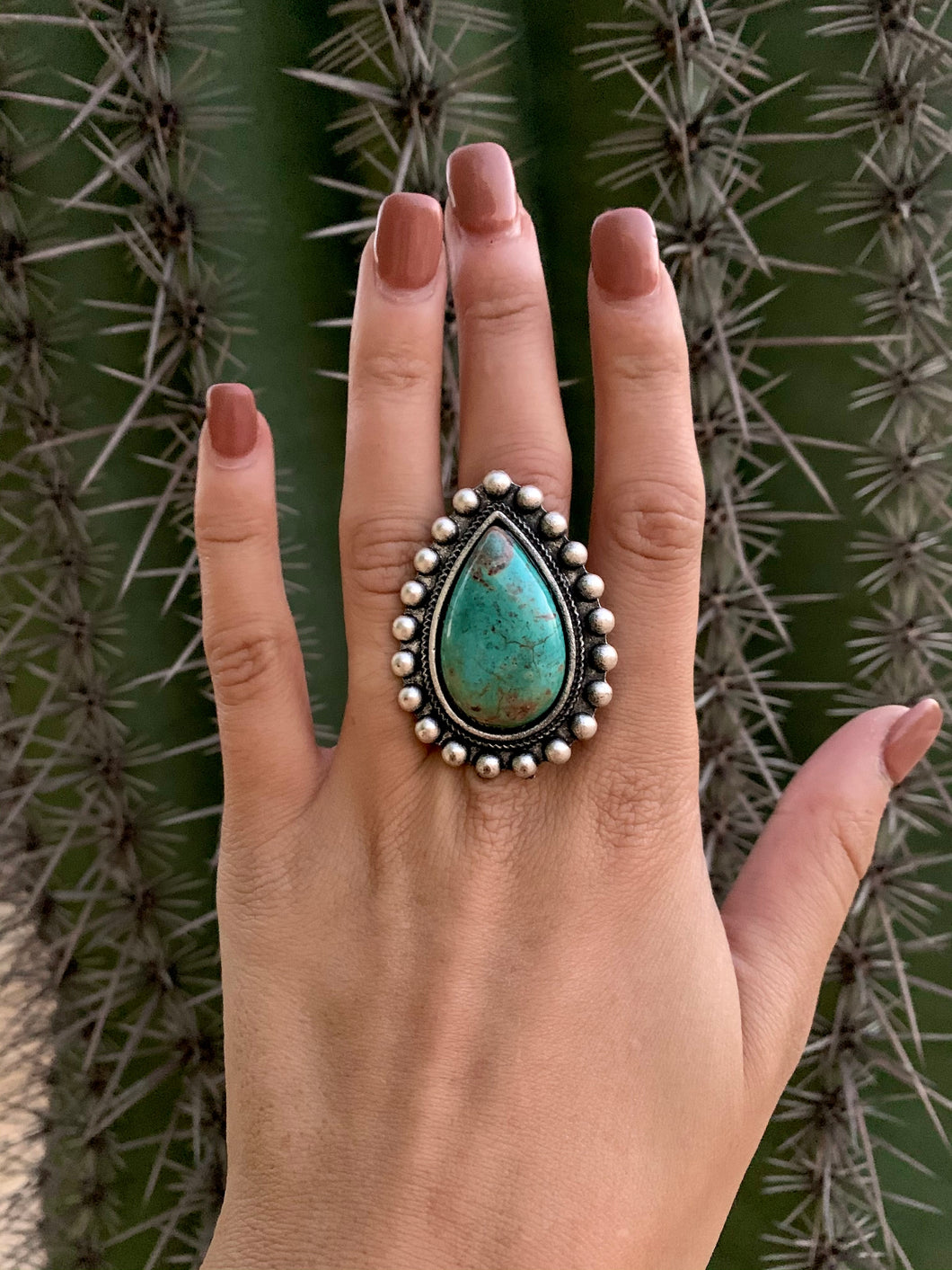 Natural Stone Teardrop Ring