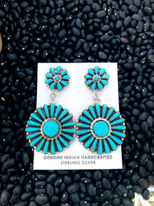 Navajo Turquoise Circle Cluster Post Earrings