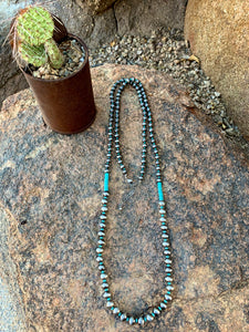 "48"" Pearl and Turquoise Necklace - 2 Colors"