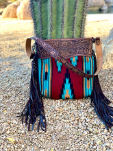 Load image into Gallery viewer, Maroon and Turquoise Saddle Blanket Purse