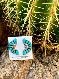 Kingman Turquoise Crescent Earrings