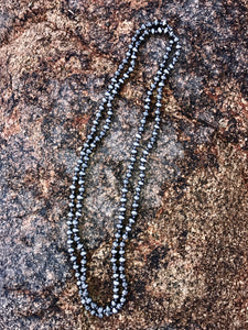 "60"" Faux Navajo Pearl Necklace - Silver"