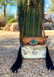 Cowhide and Leather Purse - Steer Head and Turquoise