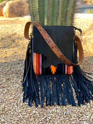 Aztec Raw Cut Crossbody Purse