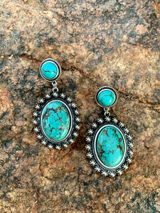 Natural Stone Oval Post Earrings - Turquoise