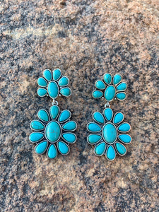 Turquoise Cluster Post Earrings - Style 2