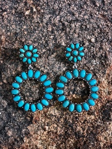 Stone Post Earrings - Turquoise