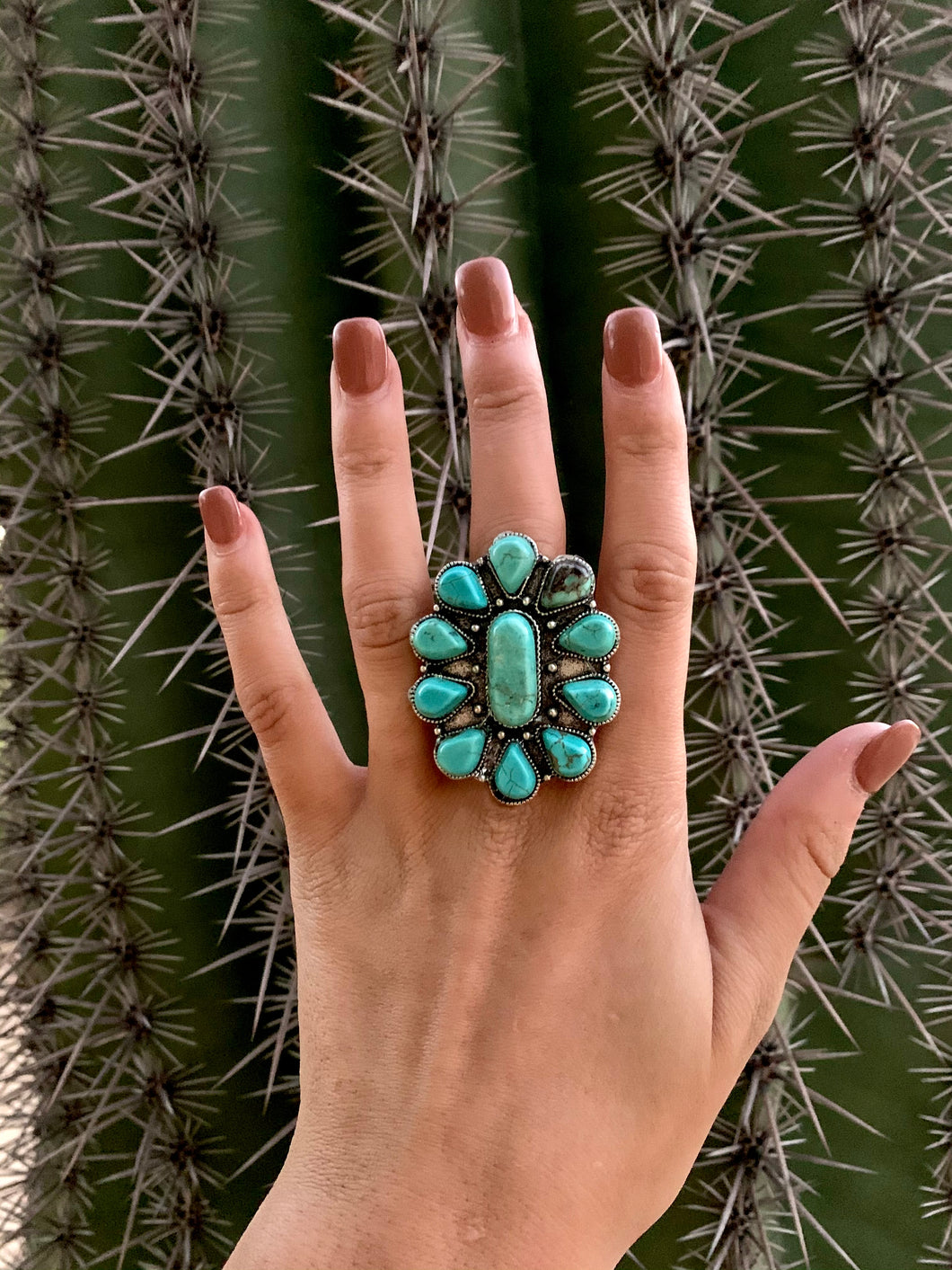 Large Natural Stone Turquoise Cluster Ring