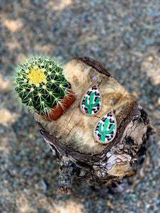 Leather Cheetah Cactus Earrings