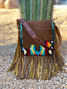 Serape Aztec Raw Cut Crossbody Purse
