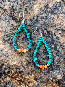 Turquoise Chip and Spiny Oyster Earrings
