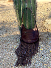 Load image into Gallery viewer, Cowhide Fringe Hobo Bag
