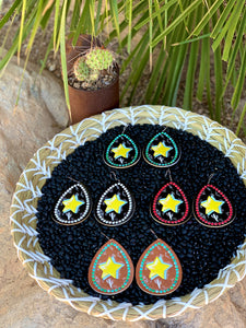 Cosmic Leather Earrings - Stars