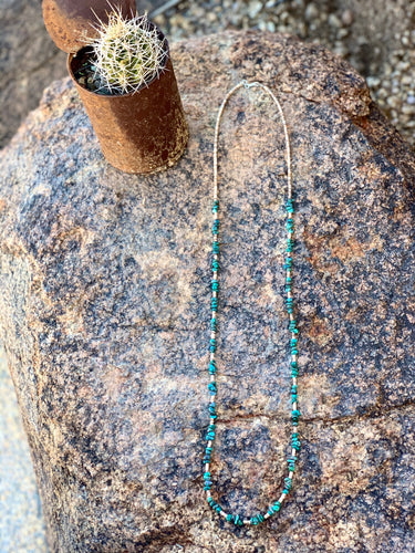 "35"" Single Strand Turquoise and Heishi Necklace"