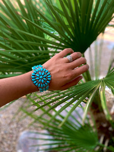 Large Turquoise Cluster Cuff