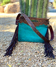 Load image into Gallery viewer, Turquoise Hide and Leather Purse