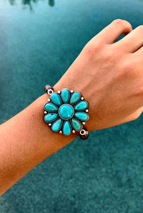 Natural Stone Turquoise Flower Stretch Bracelet