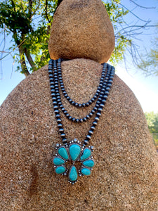 Triple Strand Natural Stone Naja Necklace