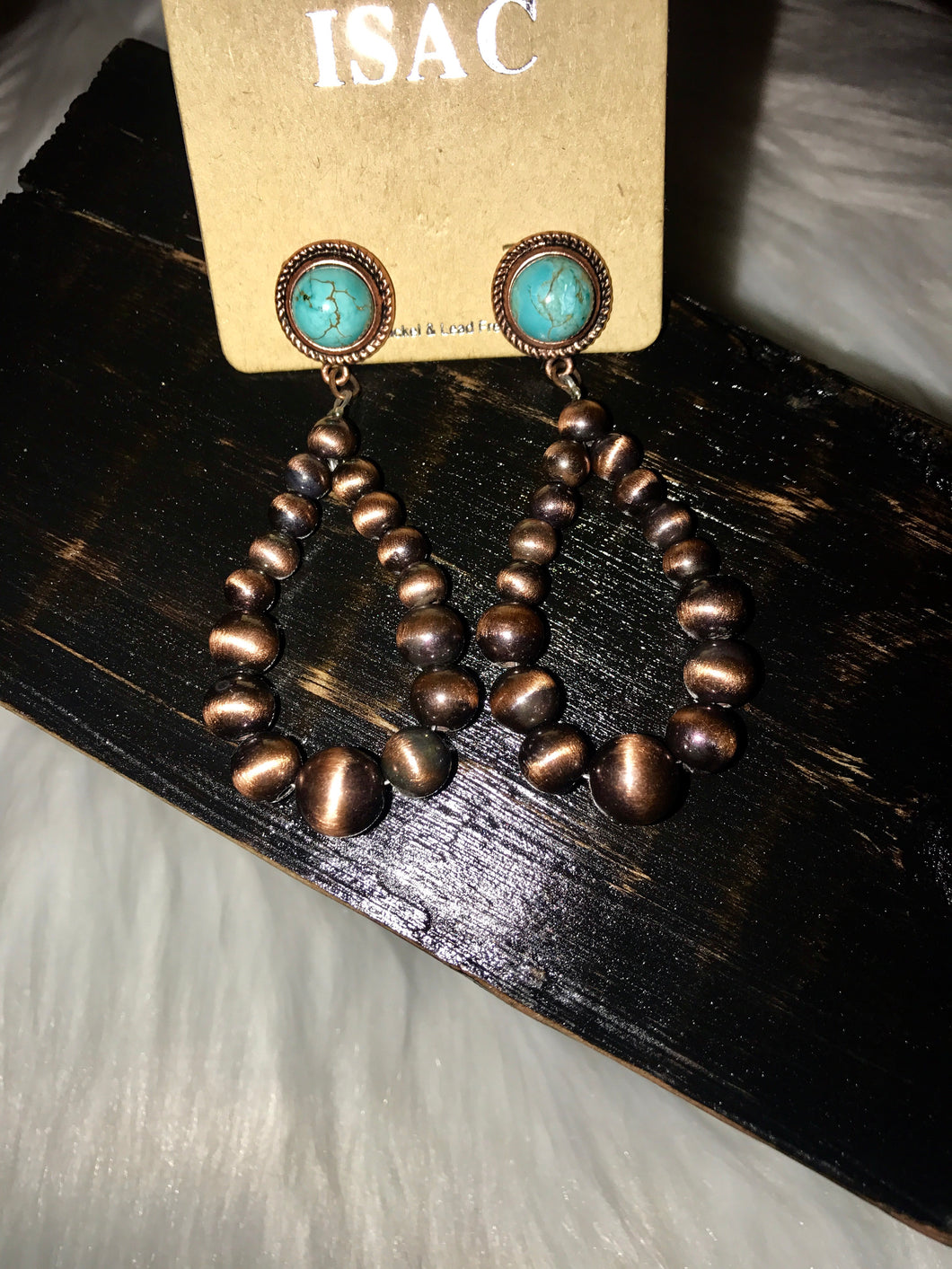 Faux Navajo Pearls and Turquoise Post Earrings - Bronze