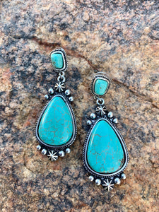 Natural Stone Post Teardrop Earrings
