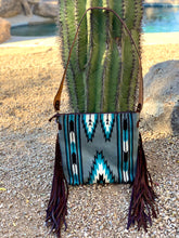 Load image into Gallery viewer, Turquoise and Gray Saddle Blanket Purse