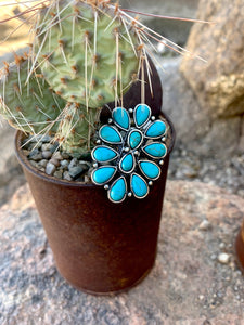 Adjustable Turquoise Cluster Ring
