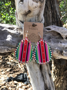 Bling Teardrop Earrings - Pink Serape