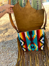 Load image into Gallery viewer, Serape Aztec Raw Cut Crossbody Purse