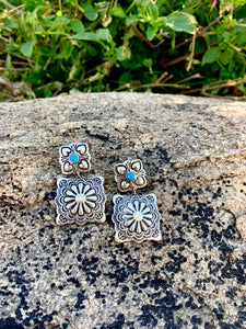 Turquoise Square Concho Post Earrings