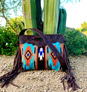 Turquoise and Rust Saddle Blanket Purse
