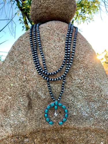 3 Strand Turquoise Naja and Pearl Necklace
