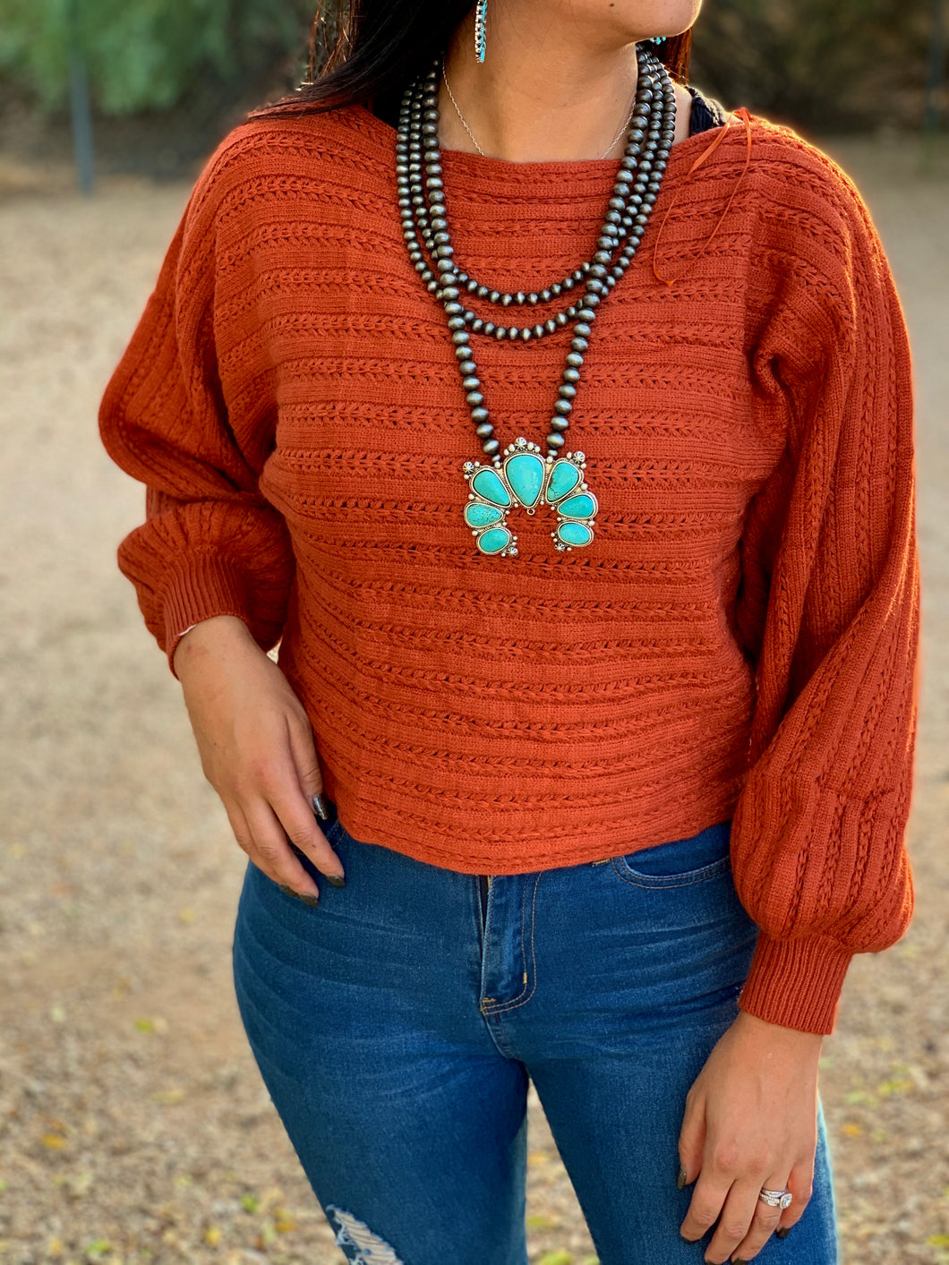 Rust Bubble Sleeve Sweater