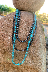 Navajo Pearl and Turquoise Nugget Necklace